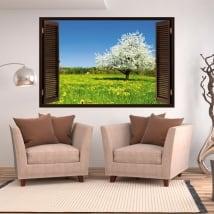 Vinili finestra albero di ciliegio 3d