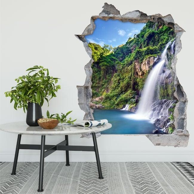Vinili buco nel muro cascate del bacino des aigrettes riunione 3d