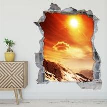 Vinili e adesivi tramonto in montagna 3d