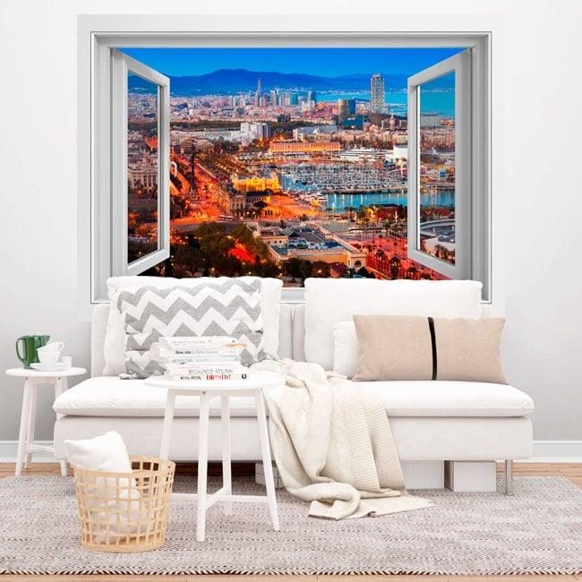 Vinili finestre città di barcellona 3d