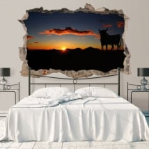 Vinili buco muro toro osborne al tramonto 3d