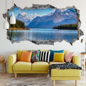 Vinili foro muro 3d panoramica lago morena canada