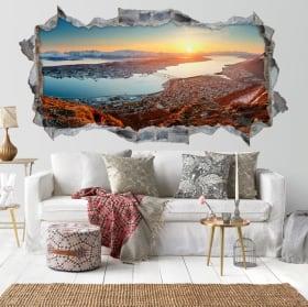 Vinili foro muro 3d panorama tramonto norvegese
