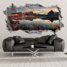 Vinili buco nel muro reine norvegese panoramica 3d