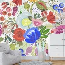 Murales in vinile fiori paradiso tropicale