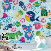 Murales per bambini in vinile animali da decorare
