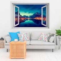 Vinili finestre tramonto in reine norvegia 3d