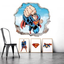 Adesivi murali buco superman 3d