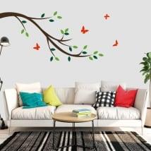 Vinile decorativo ramo di un albero e farfalle