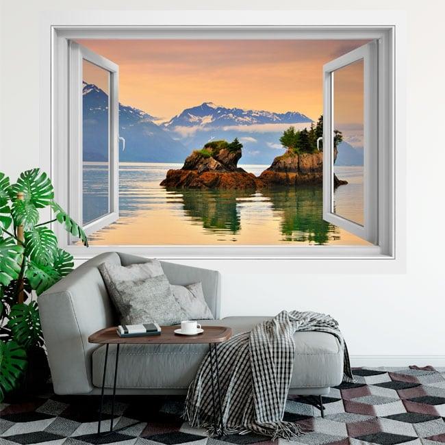 Vinili finestre tramonto a principe william alaska 3d