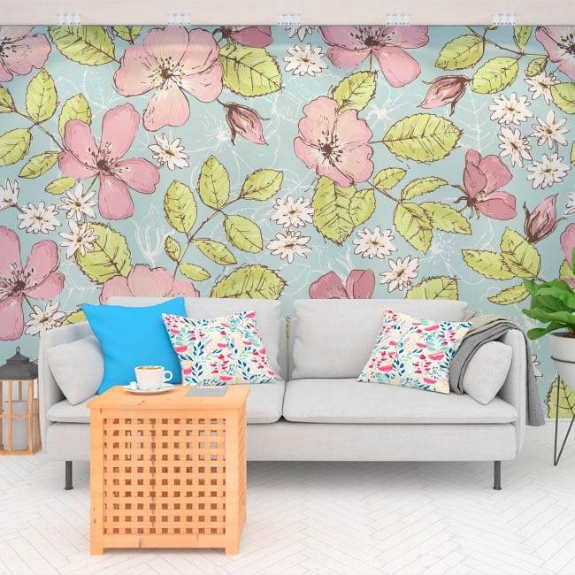 Murales in vinile fiori da decorare
