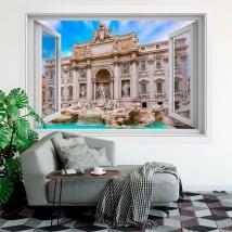 Vinile adesivo finestre roma fontana di trevi 3d