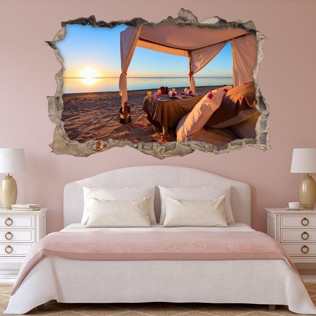 Vinili tramonto romantico sulla spiaggia 3d