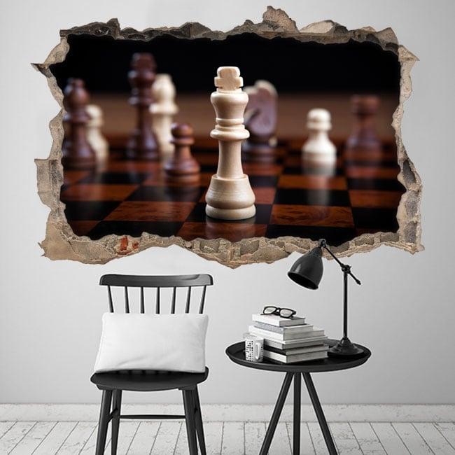 Vinili 3d re degli scacchi buco muro