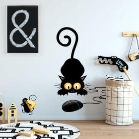 Vinile decorativo e adesivi gatto e topo
