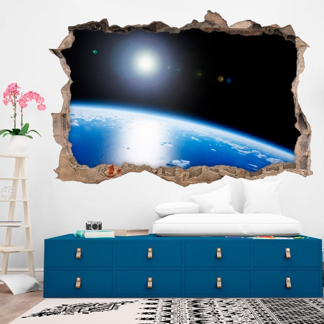 Vinili 3d pianeta terra buco muro