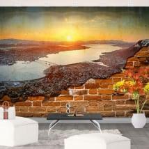 Murales tramonto in norvegia muro rotto