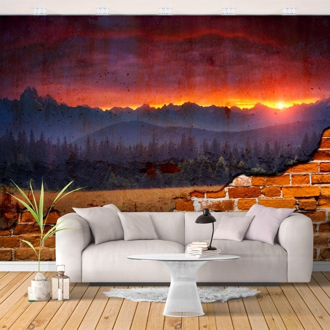 Gigantografie muro rotto tramonto nella natura