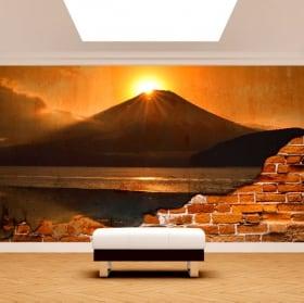 Adesivo muro rotto tramonto sul monte fuji lago kawaguchi