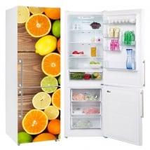 Vinile e adesivi decorare i frigoriferi frutta sfondo di legno