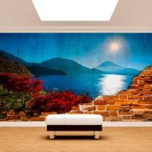 Murales in vinile tramonto sul monte fuji muro rotto