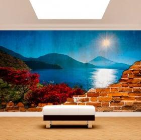Foto murale tramonto sul mare muro rotto