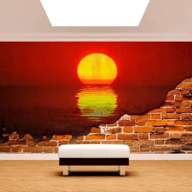 Pitture murali in vinile sole tramonto al mare muro rotto