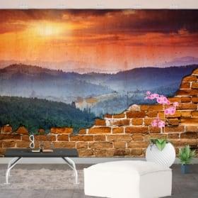 Gigantografie tramonto in montagna muro rotto