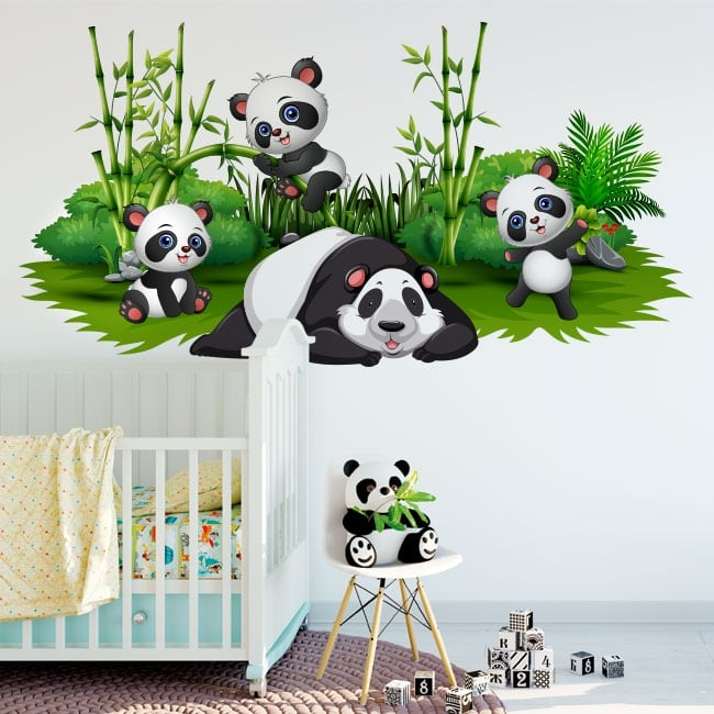 Vinili decorare le stanze dei bambini orsi panda