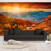 Foto murali vinili tramonto in montagna muro rotto