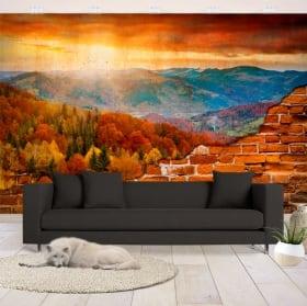 Gigantografie montagne al tramonto muro rotto