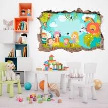 Vinile e adesivi per bambini famiglia nello zoo 3d