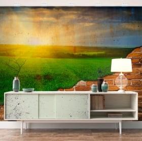 Gigantografie tramonto sul campo effetto muro rotto