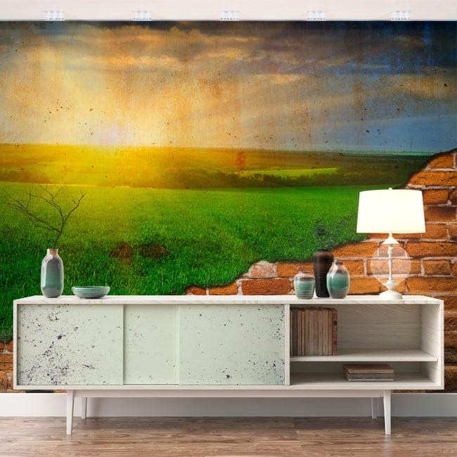 Gigantografie sole all'orizzonte effetto muro rotto