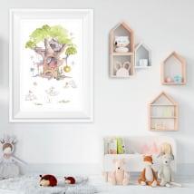 Vinili l'albero dei gatti effetto immagine 3d