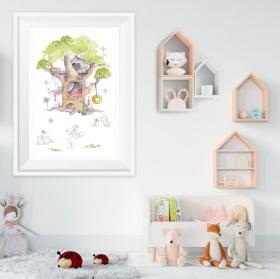 Vinile per bambini elefanti e tartarughe immagine effetto 3d