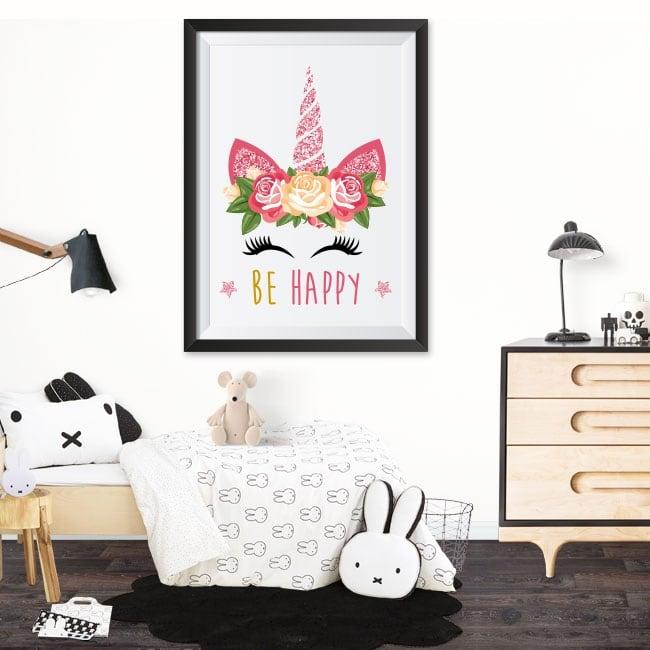 Vinile adesivo unicorno sii felice immagine effetto 3d