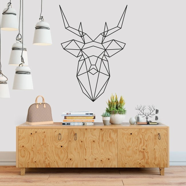 Vinile decorativo origami geometrico testa di cervo
