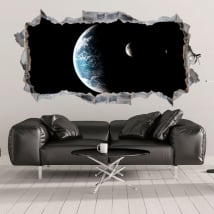 Vinili 3d pianeta terra e luna buco nel muro