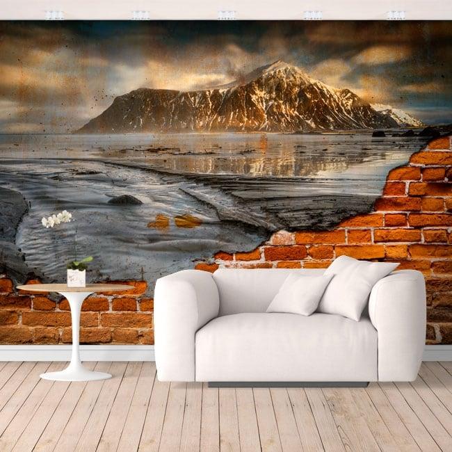 Gigantografie in vinile isole lofoten norvegia effetto muro rotto