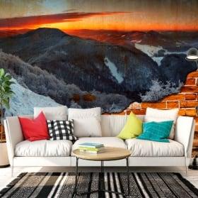 Gigantografie in vinile alba in montagna effetto muro rotto