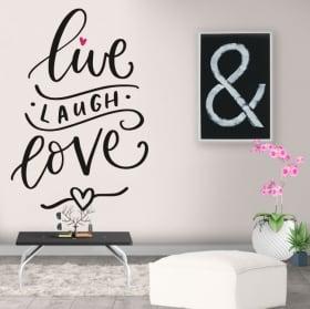 Vinile decorativo frase in inglese live laugh love