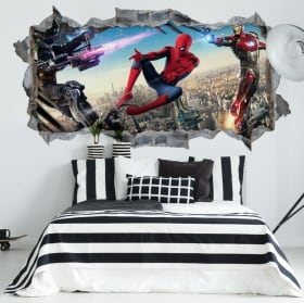 Vinile decorativo iron man 3 buco muro 3d