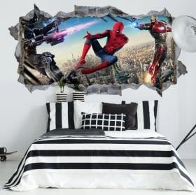 Vinili muri iron man e spiderman 3d