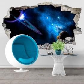 Vinile decorativo galassia buco muro 3d