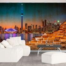 Murales del canada città notturno effetto muro rotto