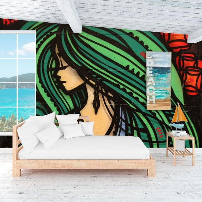 Murales in vinile decorativo graffiti di arte urbana