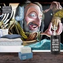 Murales e vinile graffiti di arte urbana