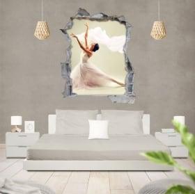 Vinili silhouette donna balletto foro muro 3d