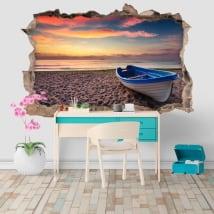 Vinile e adesivi tramonto sulla spiaggia foro muro 3d